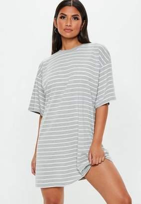 Missguided Gray Stripe Oversized Short Sleeve T-Shirt Dress