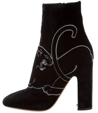 Valentino Panther Velvet Ankle Boots w/ Tags