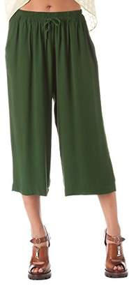 471aaf3fcf27 ... Solo Capri Women s Pantalone a Palazzo Corto in Crepe Verde Trousers