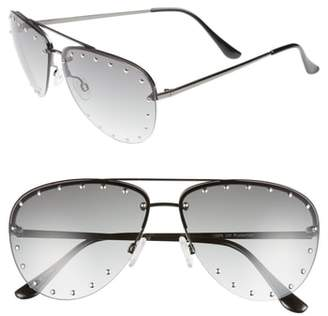 Leith 63mm Studded Aviator Sunglasses