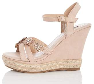 bc046ec75eec6 at Quiz Clothing · Quiz Nude Flower Heel Wedges