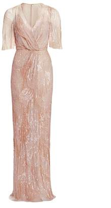 Jenny Packham Embellished Tulle V-Neck Column Gown