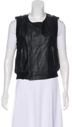 BCBGMAXAZRIA Vegan Leather-Paneled Knit Vest