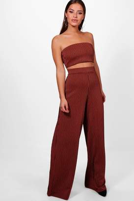 boohoo Petite Amy Bandeau Top & Wide Leg Trouser Co-Ord