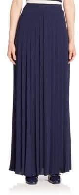 Michael Kors Slashed Pleated Silk Maxi Skirt