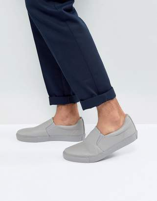 Asos Slip On Plimsolls In Grey With Grey Sole