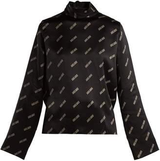 Aries Logo-print high-neck silk-satin top