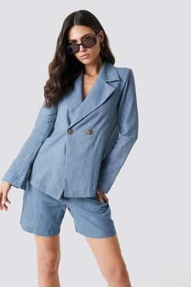 Na Kd Classic Linen-blend Blazer Light Blue