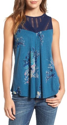 Women's Lucky Brand Print Lace Yoke Knit Top $59.50 thestylecure.com