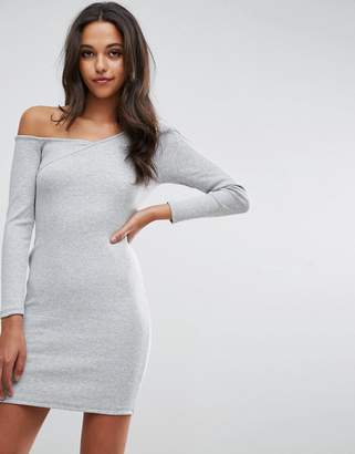 Asos Design Asymmetric Shoulder Rib Bodycon Dress with Long Sleeves