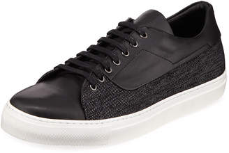 Jared Lang Men's Leather Denim-Side Low-Top Sneakers