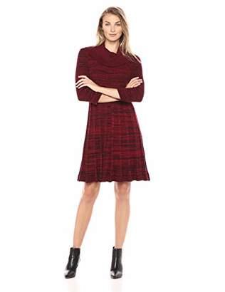 Sandra Darren Women's 1 PC 3/4 Sleeve Cowl Neck Fit & Flare Sweater Dress
