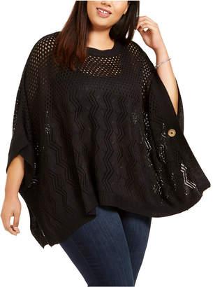Belldini Plus Size Open-Knit Poncho