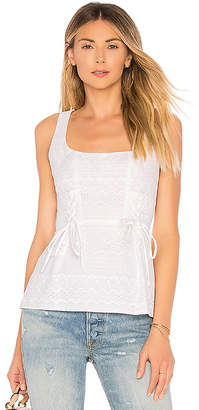 BCBGMAXAZRIA Sleeveless Embroidered Peplum Top