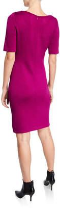 St. John Short-Sleeve Santana Knit Sheath Dress
