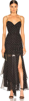 Nicholas Polka Dot Drawstring Dress in Black | FWRD