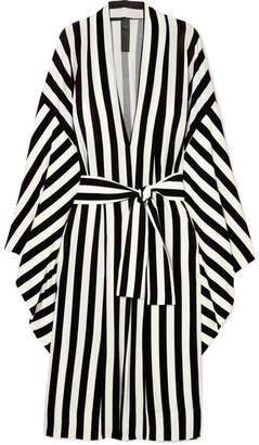 Norma Kamali Striped Stretch-jersey Robe - Black