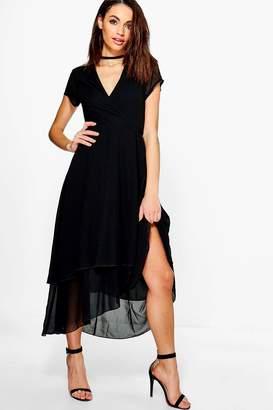 boohoo Gracie Chiffon Cap Sleeve Ruffle Midi Dress $44 thestylecure.com