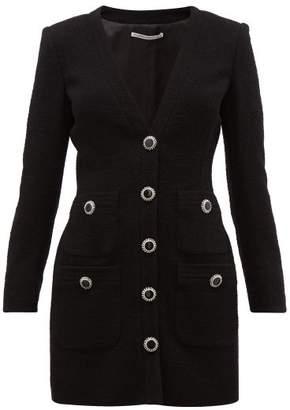 Alessandra Rich Boucle Wool Blend Cardigan Mini Dress - Womens - Black
