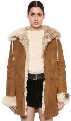 Saint Laurent Hooded Suede Shearling Jacket