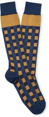 Marni Checked Silk-Blend Socks Size: 12