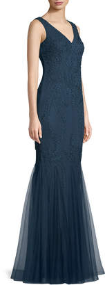 LM Collection Sleeveless Soutache V-Neck Mermaid Gown
