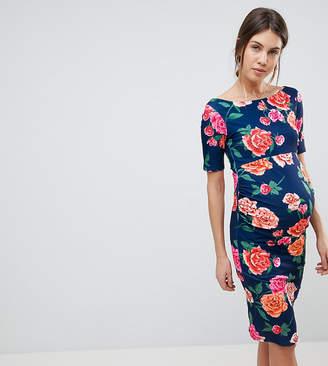 Asos Bardot Dress With Half Sleeve In Dark Floral
