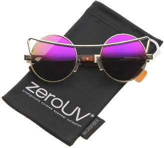 Zerouv Futuristic Brow Bar Metal Frame Colored Mirror Lens Round Sunglasses 47mm