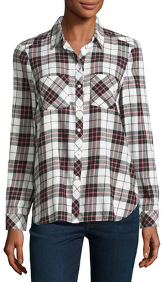 Soft Joie Lilya Plaid Flannel Shirt, White/Red $168 thestylecure.com