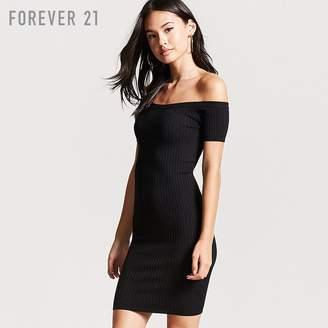 Forever 21 (フォーエバー 21) - Forever 21 オフショルダーリブタイトミニワンピース