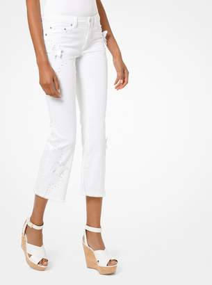MICHAEL Michael Kors Butterfly Applique Cropped Jeans