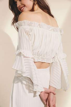 Urban Outfitters Off-The-Shoulder Ruffle Cropped Top