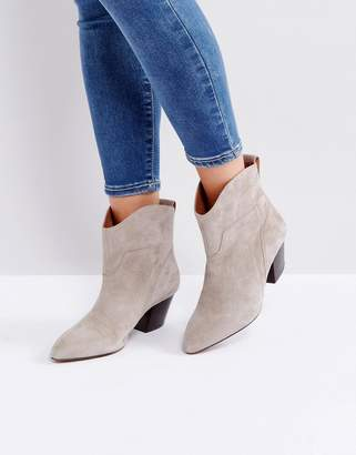 Hudson London Karyn Taupe Suede Mid Heeled Ankle Boots