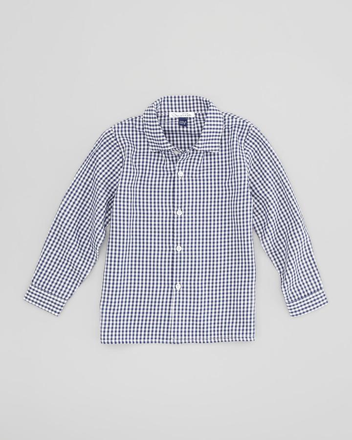 Oscar de la Renta Little Boys' Gingham Button-Down Shirt, Navy/White, 18M-2Y