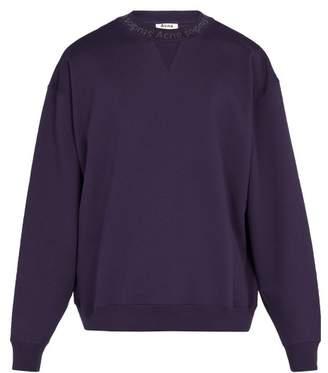 Acne Studios Flogho Crew Neck Cotton Sweatshirt - Mens - Purple