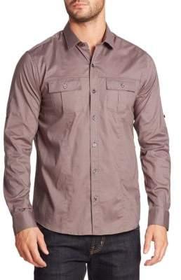 Saks Fifth Avenue Modern Solid Stretch Poplin Military Shirt