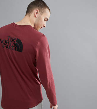 The North Face Easy Long Sleeve Top Back Logo Print Exclusive to ASOS In Burgundy