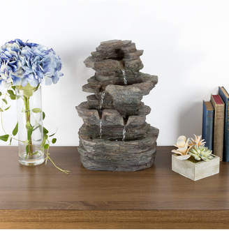Pure Garden Tiered Stone Led Table Fountain