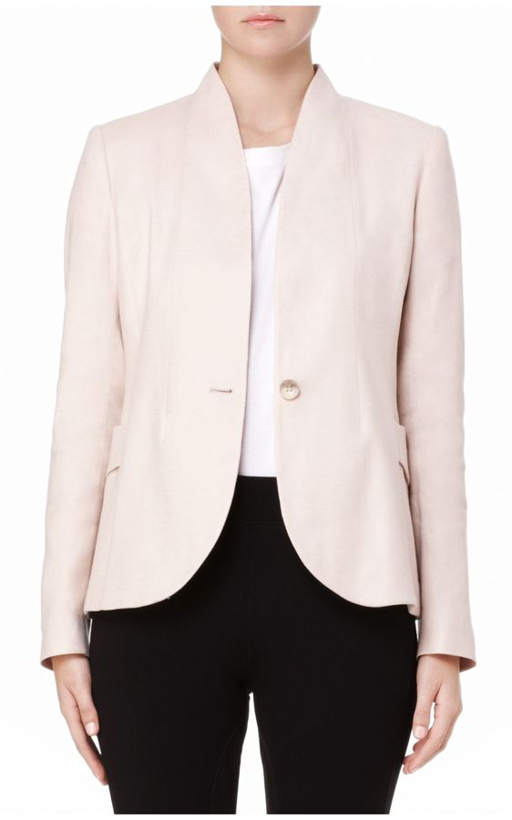 Aimil Stretch Linen One-Button Blazer