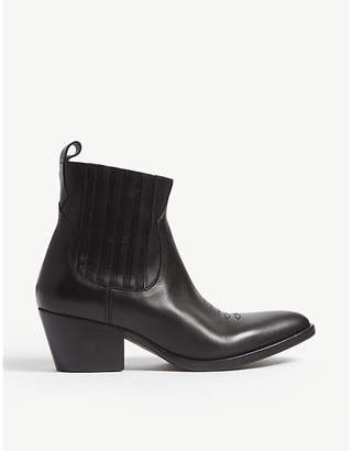 Maje Far West leather ankle boots