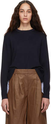 Tibi Navy Zip Back Pullover