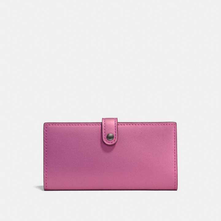 Coach Slim Trifold Wallet With Floral Print Interior - METALLIC ROSE BRIGHT PINK/BLACK COPPER - STYLE