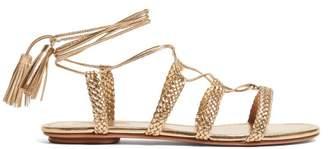 Aquazzura Stromboli Wrap Around Plaited Leather Sandals - Womens - Gold