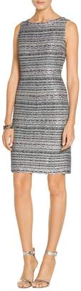 St. John Lacquered Metallic Ribbon Knit Sheath Dress