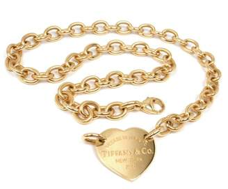 Tiffany & Co. & Co. Return To 18K Yellow Gold Heart Tag Choker Necklace