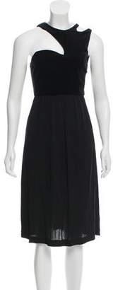 Behnaz Sarafpour Velvet-Accented Midi Dress