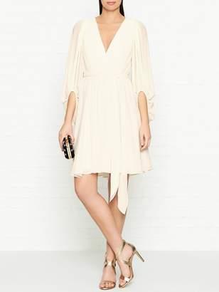 Halston V Neck Wrap Effect Georgette Dress- Cream