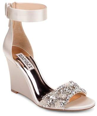Badgley Mischka Women's Lauren Crystal-Embellished Wedge Heel Sandals