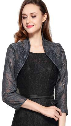 Chic Queen Women's Long Sleeve Floral Lace Shrug Bolero Cardigan(L/)