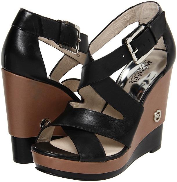 MICHAEL Michael Kors - Belinda Cross Strap (Black Vachetta) - Footwear